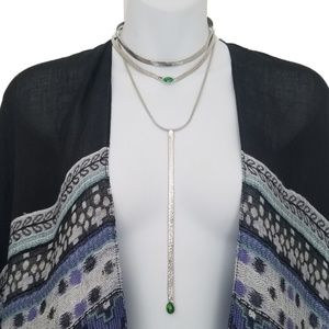 Free People Snake silver boho necklace new NWT